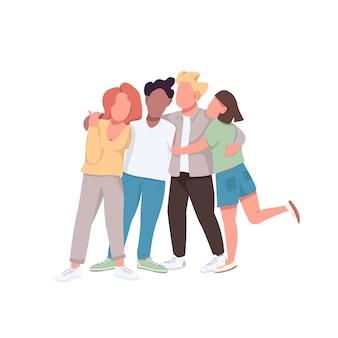 コミュニティフラットカラーの顔のないキャラクター。親しい友情。女性と男性が一緒に抱きしめます。 webグラフィックデザインとアニメーションのための多民族統一孤立漫画イラスト