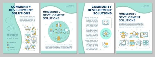 커뮤니티 개선 솔루션 브로셔 템플릿입니다. 전단지, 소책자, 전단지 인쇄, 선형 아이콘이 있는 표지 디자인. 프레젠테이션, 연례 보고서, 광고 페이지용 벡터 레이아웃