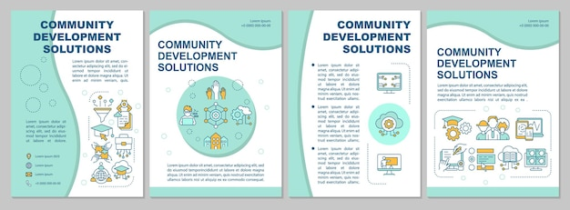 Community improvement solutions brochure template. flyer, booklet, leaflet print, cover design with linear icons. vector layouts for presentation, annual reports, advertisement pages