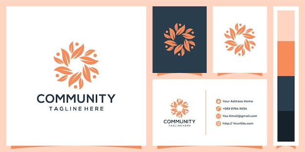 Community leaf logo design with business card concept