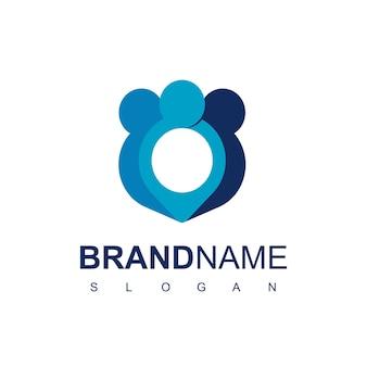 Расположение сообщества, люди логотип дизайн вектор шаблон, изолированные на белом фоне