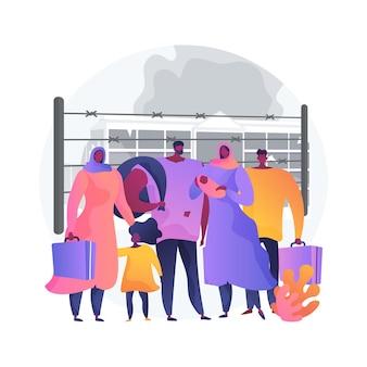 Illustrazione di vettore di concetto astratto di migrazione della comunità. comunità di migranti, viaggio in auto, aereo, treno, diaspora, trasferirsi all'estero, gruppo di rifugiati, folla di persone metafora astratta.