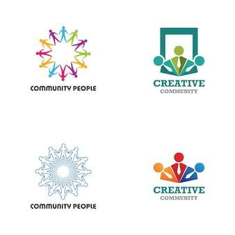 コミュニティ、ネットワーク、ソーシャルアイコンのデザインテンプレート