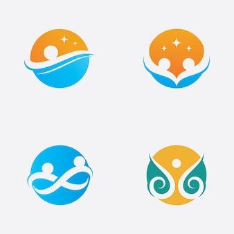 Community  network and social  health logo  icon design template