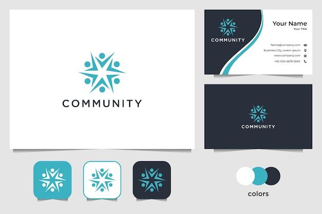Дизайн логотипа людей сообщества и визитная карточка