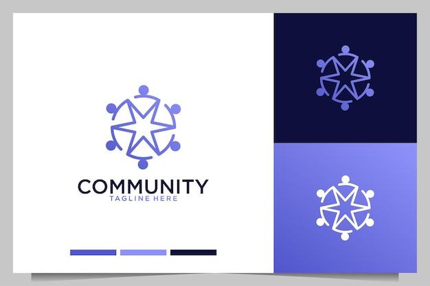 星のロゴデザインでモダンなコミュニティの人々