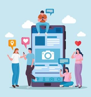 스마트 폰 및 소셜 미디어 설정 아이콘 일러스트와 함께 커뮤니티 사람들