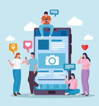 Community people with smartphones and social media set icons  illustration
