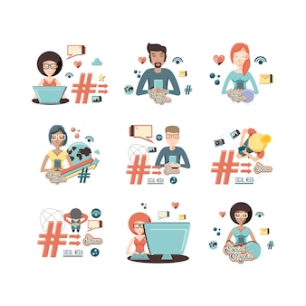 Community people with social media icons