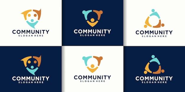 コミュニティセキュリティロゴコレクション。ロゴデザインベクトル