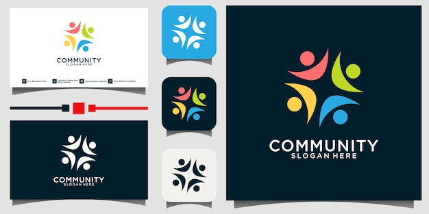 커뮤니티 사회 관계 로고 및 명함 벡터