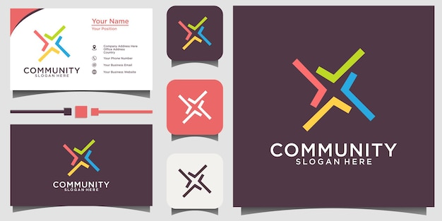 Community social relationship logo and business card vector