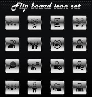 Community vector flip mechanical icons for user interface design