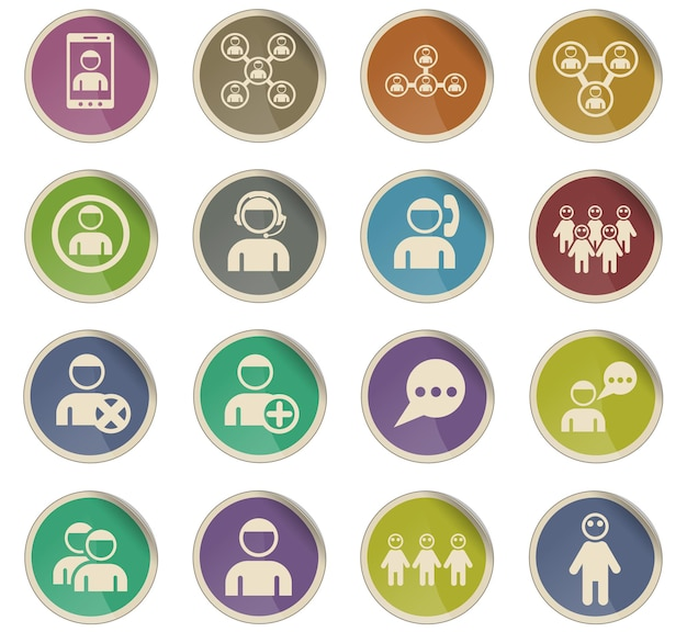 Community vector icons in the form of round paper labels
