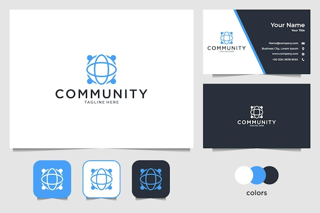 Community with globe logo design and business card