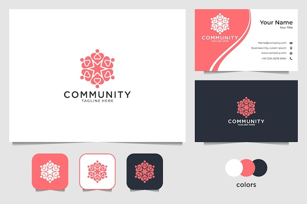Community with heart logo design and business card