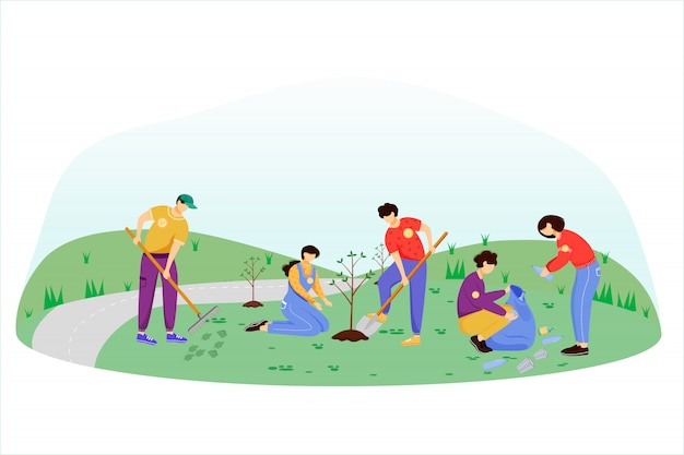 Community work day flat illustration. volunteers, activists isolated cartoon characters on white background. young people cleaning garbage and planting trees. environment protection concept