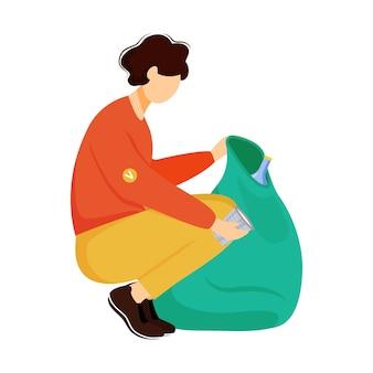 Работник сообщества чистки мусора плоской иллюстрации. молодой волонтер, экологический активист изолировал мультипликационный персонаж на белом фоне. управление отходами, элемент дизайна сортировки мусора