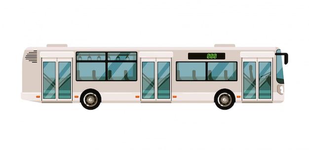 흰색 바탕에 통근 버스 대 중 교통