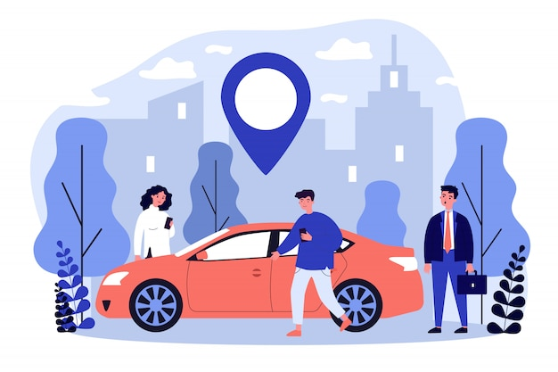 Commuters sharing car in city