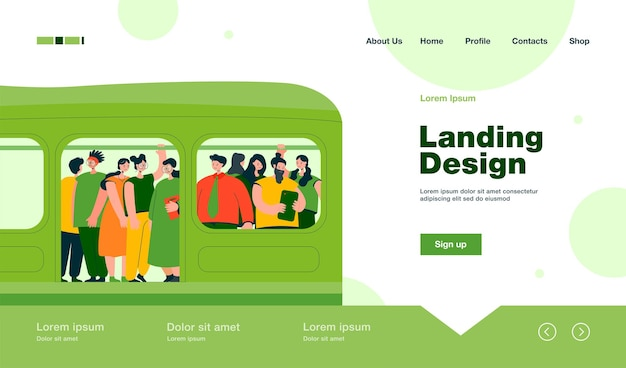 Commuting, transport and overpopulation concept landing page in flat style