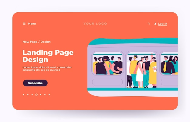 Commuting, transport and overpopulation concept landing page