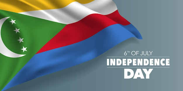 Коморские острова счастливый день независимости баннер. коморский мемориальный праздник 6 июля дизайн с флагом