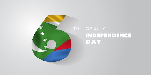 Comoros happy independence day greeting card banner vector illustration