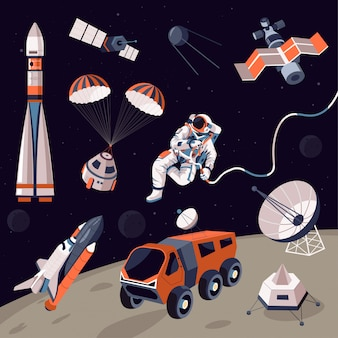 Comos exploration, machinery and astronaut in outer space
