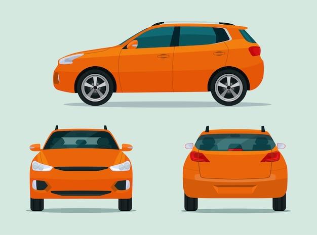 コンパクトcuvカーセットが分離されました。側面図、背面図、正面図の車のcuv。フラットスタイルのイラスト。