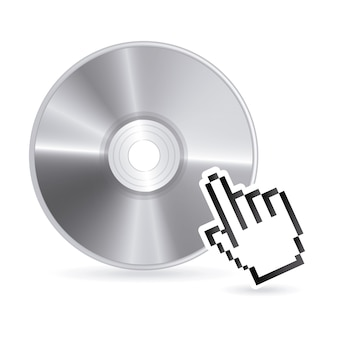 Compact disc design over white background
