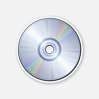 Compact disc with rainbow reflection optical laser disk cd or dvd vector illustration