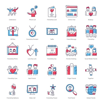 Compact of friendship day icons pack