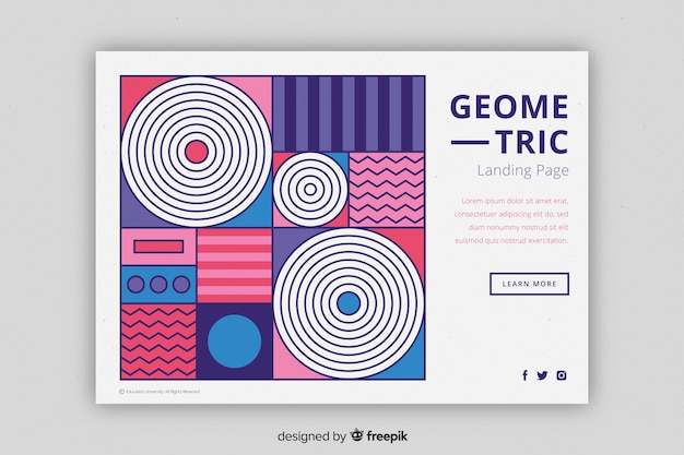 Compact geometric shapes landing page