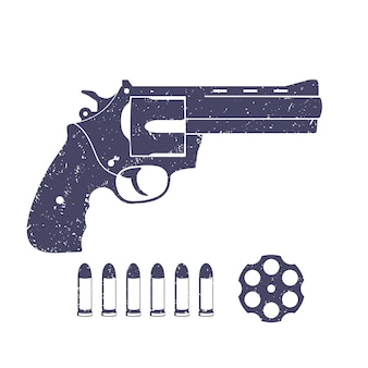 コンパクトリボルバー、拳銃、リボルバーのシリンダー、カートリッジ、弾丸、白、イラストで隔離の銃