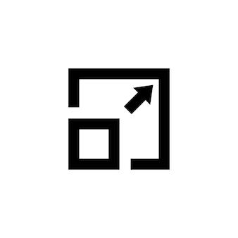 컴팩트한 크기의 아이콘입니다. 벡터 일러스트 레이 션. 응용 프로그램, 웹, 응용 프로그램에 대 한 격리 된 흰색 배경에 소형 크기 기호입니다. eps 10