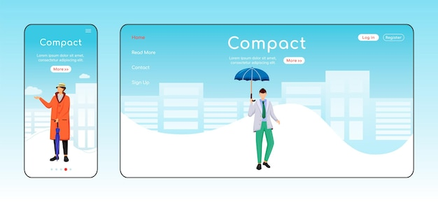 Compact umbrella landing page flat color template. mobile display. man in jacket homepage layout. wet day one page website interface, cartoon character. fashionable male web banner, webpage.