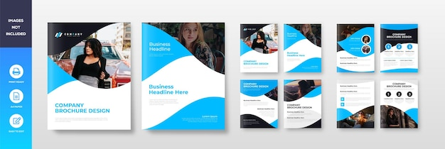 Company a4 profile brochure template layout design flat and creative