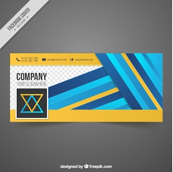 Company abstract facebook cover with stripes