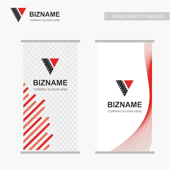 Company ad banner design and card  with orange theme vector