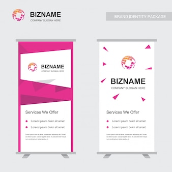 Company ads banner unique design with world map logo