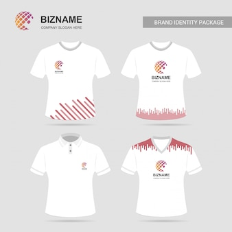 Company advertisment t-shirts with logo and slogan vector