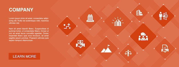 Company banner 10 icons concept.office, investment, meeting, contract simple icons