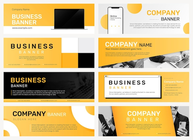 Company banner editable template  for business website set