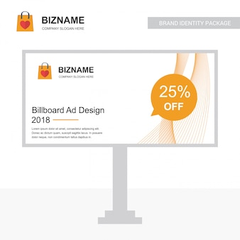 Company bill board ads design vector with shopping bag logo