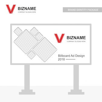 Company bill board ads design vector with video logo