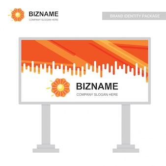 Company bill board design vector with flower logo