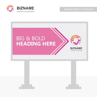 Company bill board design vector with world map logo