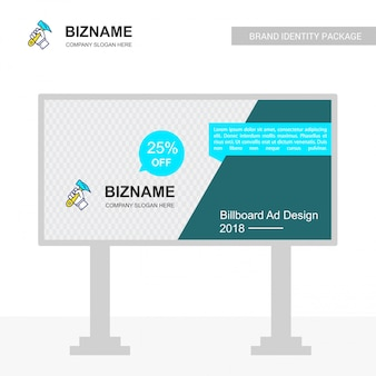 Company bill board design with hammer logo vector