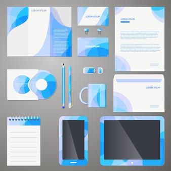 モダンな青いパターンで設定された会社のブランディングデザインテンプレート